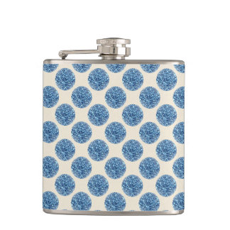 Blue Glitter Faux Foil Confetti Dots Hip Flask
