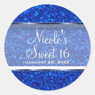 Blue Glitter Glam Sweet 16 Custom Party Favor Classic Round Sticker