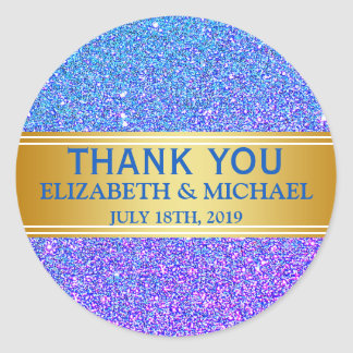 Blue Glitter Gold Badge Thank You Classic Round Sticker