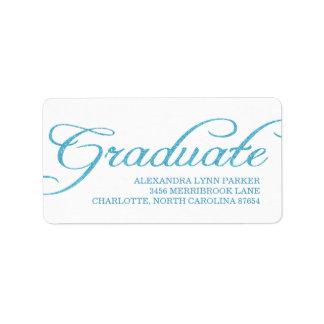 Blue Glitter Graduation Address Label