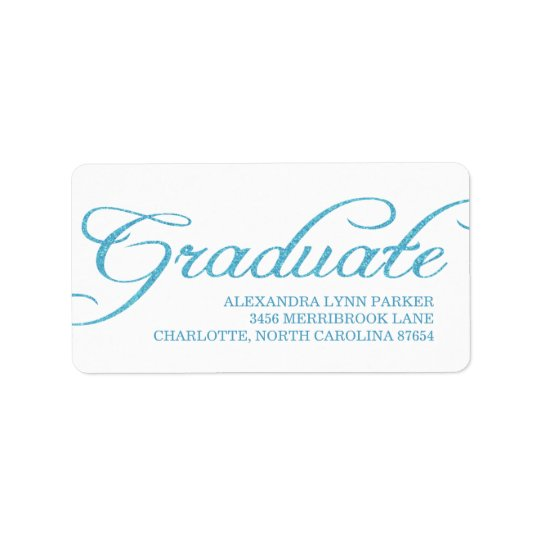 Blue Glitter Graduation Address Label