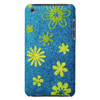 Blue Glitter & Green Flower Glam Case-Mate iPod Touch Case