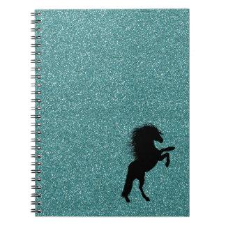 Blue Glitter Horse Notebook