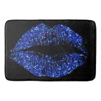 Blue Glitter Lips #2 Bath Mat