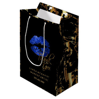 Blue Glitter Lips and Gold Marble - Thank You Medium Gift Bag