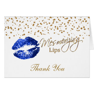 Blue Glitter Lips on White Card
