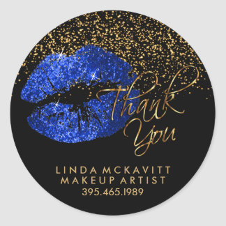 Blue Glitter Lipstick - Thank You Classic Round Sticker