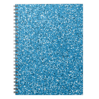 Blue Glitter Look-like Pattern Spiral Notebooks