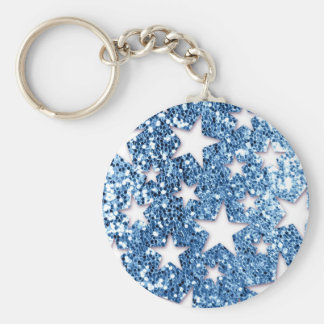 Blue Glitter Look Stars Keychain