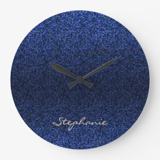 Blue Glitter Monogram Large Clock