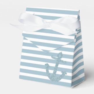 Blue Glitter Nautical Anchor Party Favor Boxes