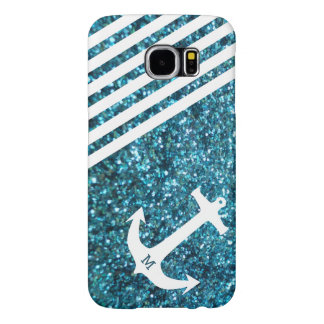 Blue Glitter Nautical Anchor with Monogram Samsung Galaxy S6 Cases
