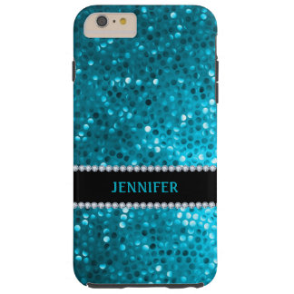 Blue Glitter Pattern & Diamonds Accents Tough iPhone 6 Plus Case