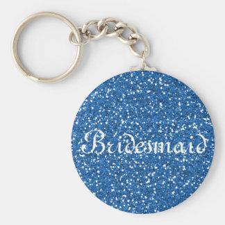Blue Glitter Personalized Bridesmaid Basic Round Button Keychain