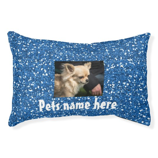 Blue Glitter Pet Pillow (your pets name and Photo)