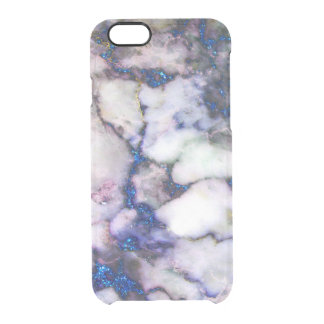 Blue Glitter Pink And Grey Marble Clear iPhone 6/6S Case