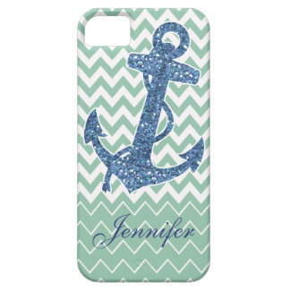 Blue Glitter Print Anchor Nautical Mint Green Case