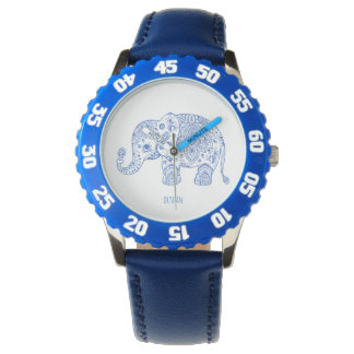 Blue Glitter Print Paisley Elephant Illustration Wrist Watches