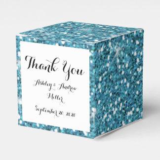 Blue Glitter Printed Favor Box