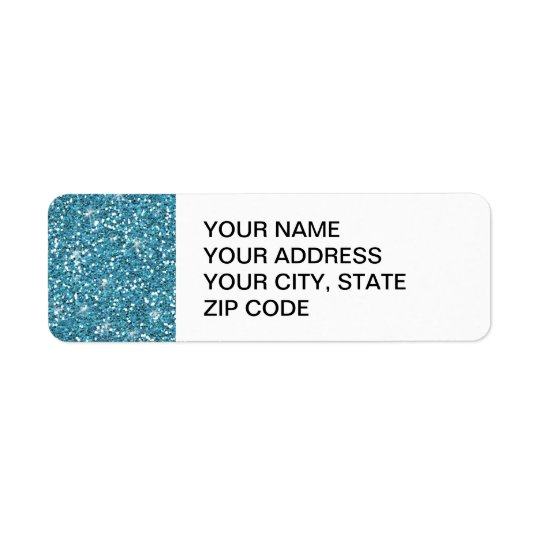 Blue Glitter Printed Return Address Label