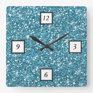 Blue Glitter Printed Square Wall Clock