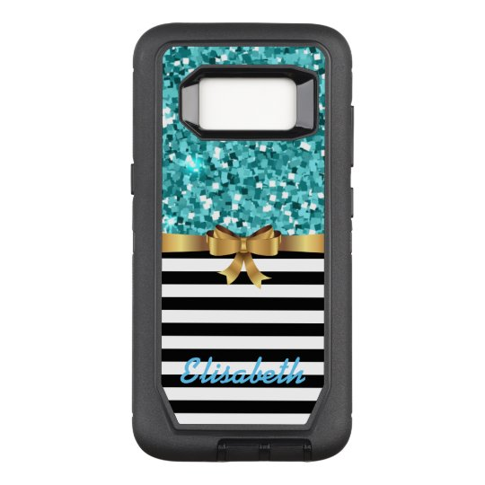 BLUE glitter printed STRIPE GOLD BOW monogram OtterBox Defender Samsung Galaxy S8 Case