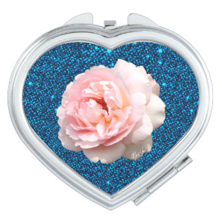 Blue Glitter Rose Heart Duo Mirror Compact Compact Mirrors
