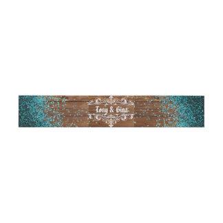 Blue Glitter Rustic Wood Wedding Invitation Belly Band