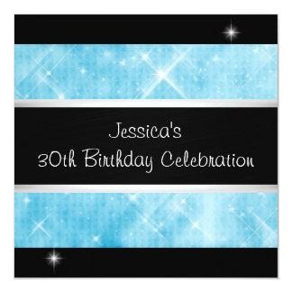 Blue Glitter Silver Lights Black 30th Birthday Card