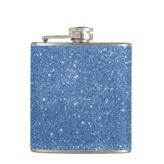 Blue Glitter Sparkles Hip Flask