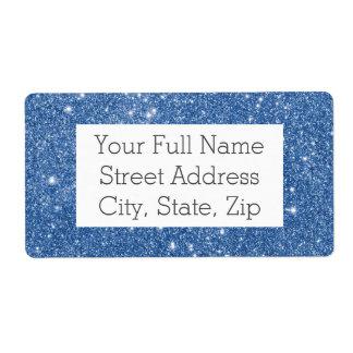 Blue Glitter Sparkles Shipping Label