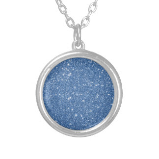 Blue Glitter Sparkles Silver Plated Necklace