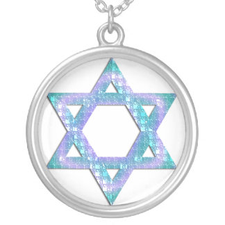Blue Glitter Star of David Necklace Design