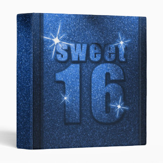 Blue Glitter Sweet 16 Birthday Binder