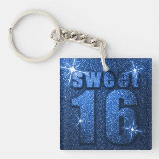 Blue Glitter Sweet 16 Birthday Keychain