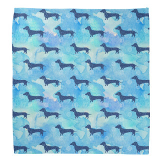 Blue Glitter Watercolor Dachshund Pattern Bandana
