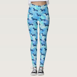 Blue Glitter Watercolor Dachshund Pattern Leggings