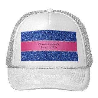 Blue glitter wedding favors trucker hat