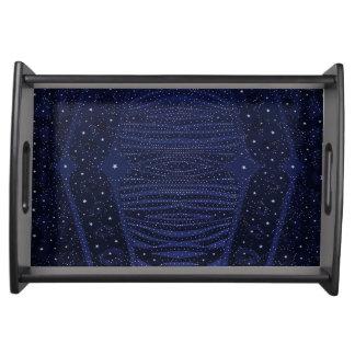 Blue Glitter Zebra Abstract Serving Trays