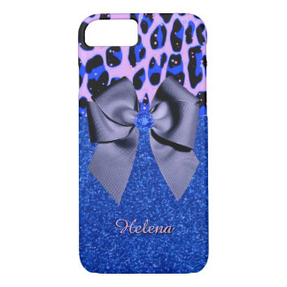 Blue Glitters and Leopard Print iPhone 7 Case