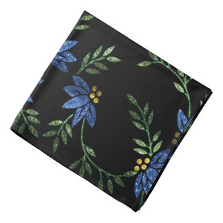 Blue Glittery Flowers on Black Background Bandanas