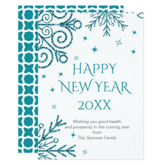 Blue Glittery Snowflakes New Year Card