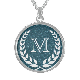 Blue Glitz Wreath Frame Monogram Sterling Silver Necklace