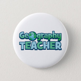 Blue Globe Geography Teacher 2 Inch Round Button