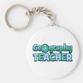Blue Globe Geography Teacher Keychains