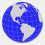 Blue Globe Round Sticker