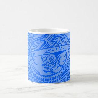 Blue Glow Hand-drawn Crazy Tribal Doodle Classic White Coffee Mug