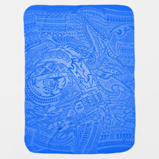 Blue Glow Hand-drawn Crazy Tribal Doodle Swaddle Blankets