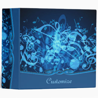Blue Glow Music Notes Pattern Binder