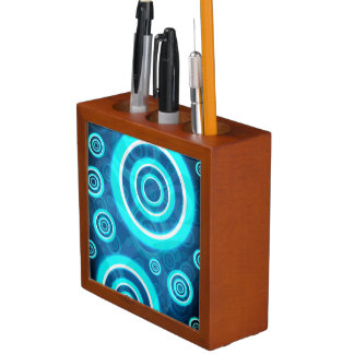 Blue Glowing Cosmic Rings Desk Organizer
